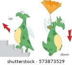 cartoon dragon goes up the... | Shutterstock .eps vector #573873529
