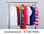 colorful womens clothes on... | Shutterstock . vector #573874981