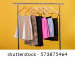 women colorful skirts on... | Shutterstock . vector #573875464