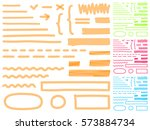 four color highlighter marker's ... | Shutterstock .eps vector #573884734