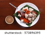 flat lay shot of  lechon or... | Shutterstock . vector #573896395