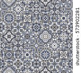Set of seamless abstract patterns. Colorful tiles background in oriental style. Vector illustration.