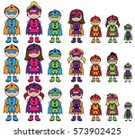 cute collection of diverse... | Shutterstock .eps vector #573902425
