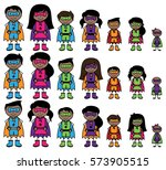 cute collection of african... | Shutterstock .eps vector #573905515