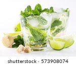 mojito cocktail with lime and... | Shutterstock . vector #573908074