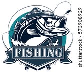 fishing logo. bass fish with...   Shutterstock .eps vector #573908929