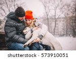 young couple enjoy in park with ... | Shutterstock . vector #573910051