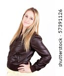 young lady with long blonde hair in leather jacket - stock photo