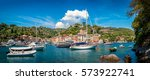 The iconic Portofino in Genoa Italy on a sunny summer day - stock photo