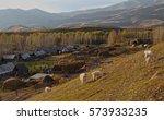 autumn village at sunset | Shutterstock . vector #573933235
