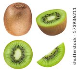 set of kiwis isolated on white... | Shutterstock . vector #573936211