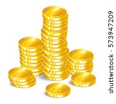 gold coins. stacks of golden... | Shutterstock . vector #573947209