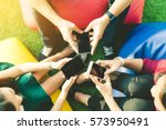 group of three young people...   Shutterstock . vector #573950491
