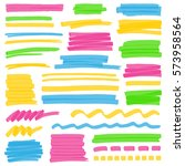 set of hand drawn colorful... | Shutterstock . vector #573958564