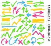 set of hand drawn colorful... | Shutterstock . vector #573958591