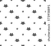 pattern with black cat heads... | Shutterstock .eps vector #573958891
