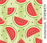 seamless pattern with watermelon   Shutterstock .eps vector #573958975