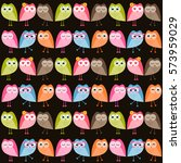 pattern with colorful owls    Shutterstock .eps vector #573959029