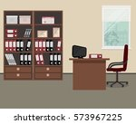 workplace of office worker.... | Shutterstock .eps vector #573967225