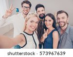 group of happy smiling... | Shutterstock . vector #573967639