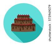 cake. icon. flat design.... | Shutterstock .eps vector #573969079