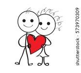boy and girl fell in love... | Shutterstock .eps vector #573970309