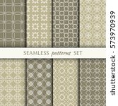 set of 8 seamless geometric... | Shutterstock .eps vector #573970939