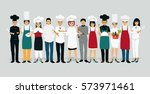 chef men and women in uniform... | Shutterstock .eps vector #573971461