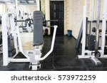 interior of a fitness hall | Shutterstock . vector #573972259