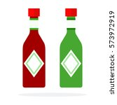 chili sauce and pesto sauce in... | Shutterstock .eps vector #573972919