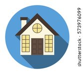 house. icon. flat design. | Shutterstock .eps vector #573976099