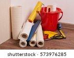 still life from rolls of wall... | Shutterstock . vector #573976285
