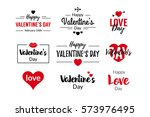 valentines day typographic text ... | Shutterstock .eps vector #573976495