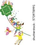 flying happy family | Shutterstock .eps vector #573978991
