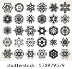 set of ornate lacy doodle... | Shutterstock .eps vector #573979579