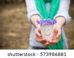 woman holding beautiful... | Shutterstock . vector #573986881
