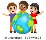 multiracial children or kids... | Shutterstock .eps vector #573994675