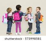 little children carrying... | Shutterstock . vector #573998581