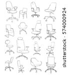 set office chairs isolated on... | Shutterstock .eps vector #574000924