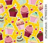 cupcakes cartoon style vector... | Shutterstock .eps vector #574002334
