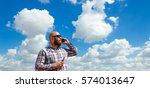 hairless man with beard in... | Shutterstock . vector #574013647