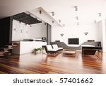 modern apartment with living... | Shutterstock . vector #57401662