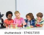 kids doing a chemical... | Shutterstock . vector #574017355