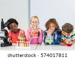 kids doing a chemical... | Shutterstock . vector #574017811