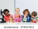 kids doing a chemical... | Shutterstock . vector #574017811