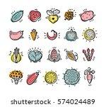 food set. doodle vegetables... | Shutterstock .eps vector #574024489