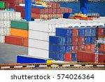 cargo container stack in port... | Shutterstock . vector #574026364