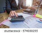 business woman using a... | Shutterstock . vector #574030255