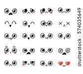 set of cute lovely kawaii... | Shutterstock .eps vector #574035649