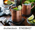 moscow mule cocktail in copper... | Shutterstock . vector #574038427